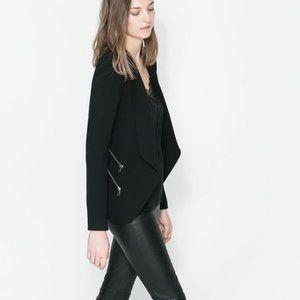 Zara Zipper Trimmed Waterfall Blazer